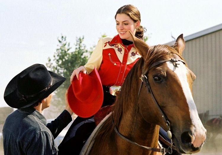 Anne Hathaway riding horseback