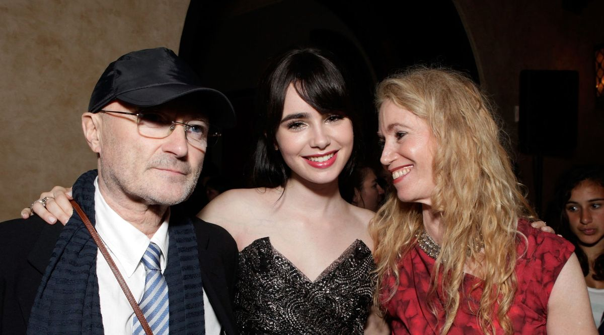 Phil Collins, Lily Collins and Jill Tavelman